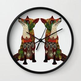 fox love off white Wall Clock