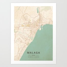 Malaga, Spain - Vintage Map Art Print