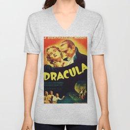Vintage 1931 Bela Lugosi Dracula Movie Advertisement Poster Unisex V-Neck