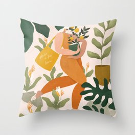Plastic is for losers Throw Pillow