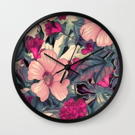 flowers 28 #flora #flowers #pattern Wall Clock