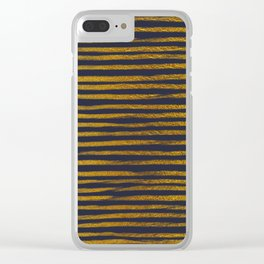 Squiggly Gold Foil Brush Stroke Hand-Painted Lines on Midnight Navy Blue Clear iPhone Case