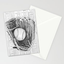 Softball (black and white) Stationery Cards