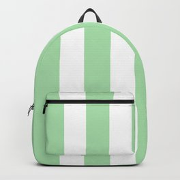 Celadon green - solid color - white vertical lines pattern Backpack