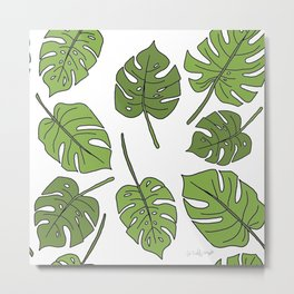 Green Monstera Line Pattern Metal Print
