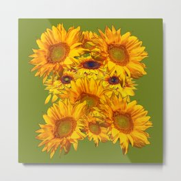 Avocado Color Sunflowers Abstract Art Metal Print
