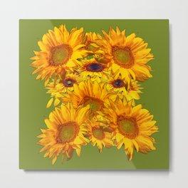 Avocado Color Sunflowers Abstract Art Metal Print