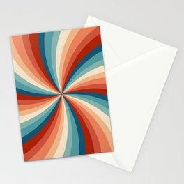 Colorful retro style sun rays Stationery Cards