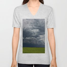 Supercell storm clouds above meadow with green grass Summer Storm clouds Unisex V-Neck