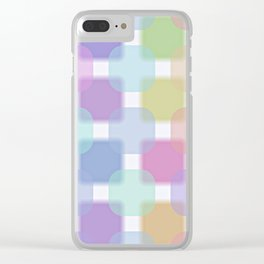 Cute Colorful Pastel Colors Retro Round Squares Pattern Clear iPhone Case