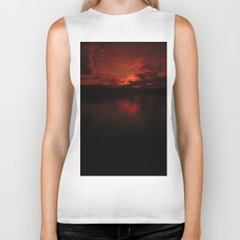 Dark Red Sunset in Montana, Water Reflection, Hues of Red, Sailor's Delight Biker Tank