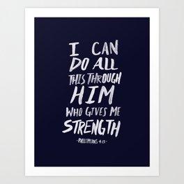 Philippians 4: 13 x Navy Art Print