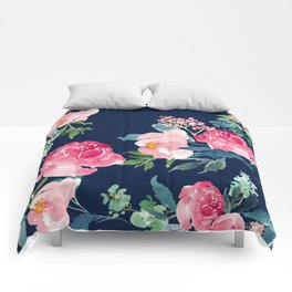 Navy and Pink Watercolor Peony Comforters