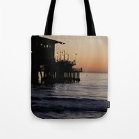 santa monica Tote Bags featuring Santa Monica Beach Life by Amy J Smith Photography