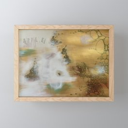 Golden Apple: Gold and White Abstract Collage Framed Mini Art Print