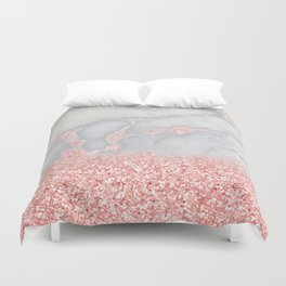 Sparkly Pink Rose Gold Glitter Ombre Bohemian Marble Duvet Cover