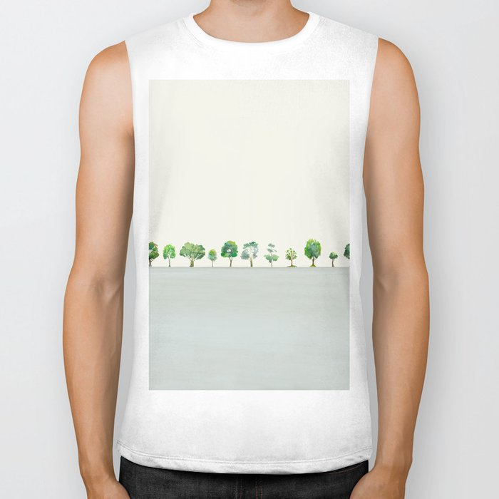 A Row Of Trees Biker Tank