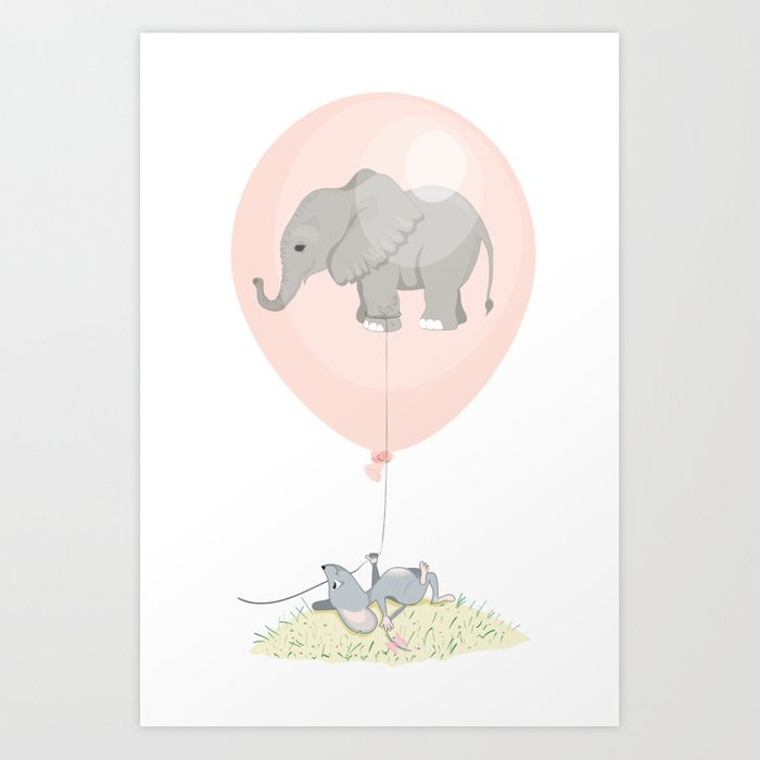 Elephant in a balloon Art Print