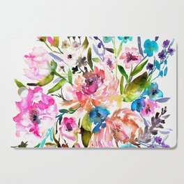 WATERCOLOUR PEONY AND ROSES Cutting Board