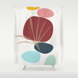 Moments - colorful stones leaf imprint Shower Curtain