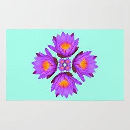 Purple Lily Flower - On Aqua Blue Rug