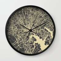 baltimore Wall Clocks featuring Baltimore map by Map Map Maps