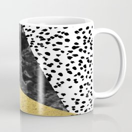 Mele - gold abstract painting art decor dorm college trendy hipster foil glitter black and white dot Coffee Mug