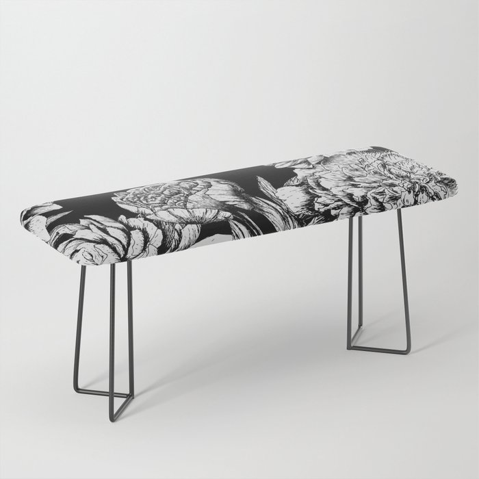 FLOWERS IN BLACK AND WHITE Bench