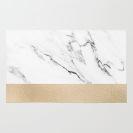 White Marble with Black and Copper Bronze Rug
