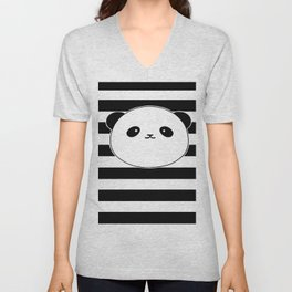 Cute, stripy Panda Face Unisex V-Neck