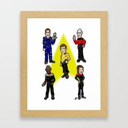 Want To Boldy Go...?  Just choose your captain! Star Trek's Sisko, Janeway, Archer, Kirk and Picard Framed Art Print