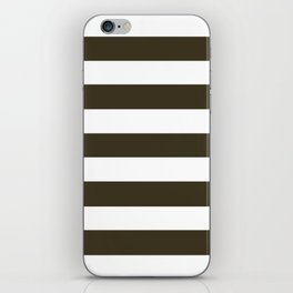 Olive Drab #7 - solid color - white stripes pattern iPhone Skin
