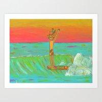 Hang 10 Retro Surf Dude Longboard Surf Art Print