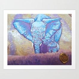 Elephant mother with child dream art Art Print