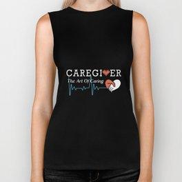 caregiver the art of aring love heart son Biker Tank