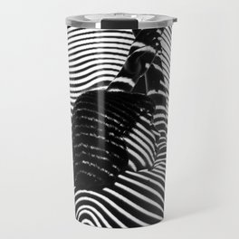 Minimalist Abstract Modern Ripple Lines Projected Woman Sensual Cool Feminine Black and White Photo Travel Mug