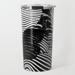 Minimalist Abstract Modern Ripple Lines Projected Woman Sensual Cool Feminine Black and White Photo Travel Mug