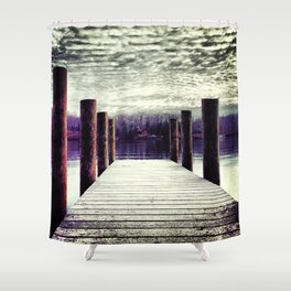 Moody winter skies on the lake Shower Curtain