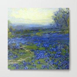 Meadow of Wild Blue Irises, Springtime by Maria Oakey Dewing Metal Print