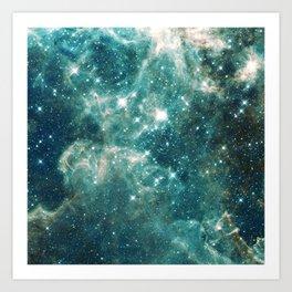 Teal Blue Galaxy Art Print
