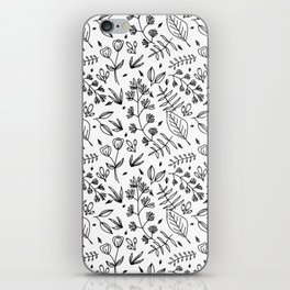 Black and White Leaves iPhone Skin