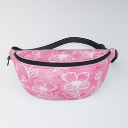11 Small Flowers on Pink Watercolor Fanny Pack