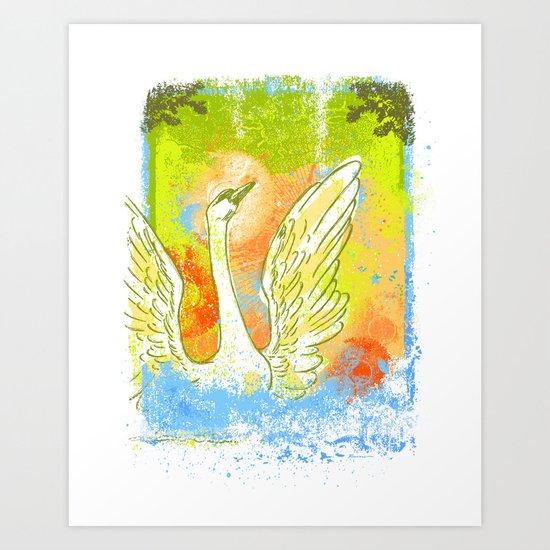 Swan Splash Art Print
