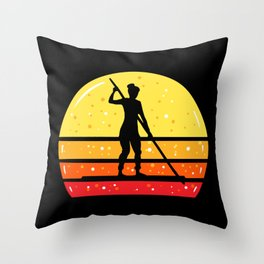 Woman On SUP Stand Up Paddleboard Throw Pillow