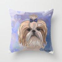 shih tzu Throw Pillows featuring Shih tzu  by Michelle Behar