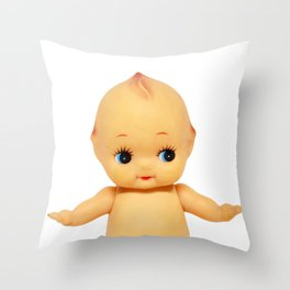 Cute little naked baby doll. Throw Pillow
