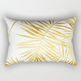 Tropical Palm Fronds in Gold Rectangular Pillow