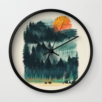 camp Wall Clocks featuring Wilderness Camp by dan elijah g. fajardo