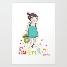 summer lover girl Art Print