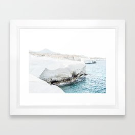 Milos sea cliffs Framed Art Print